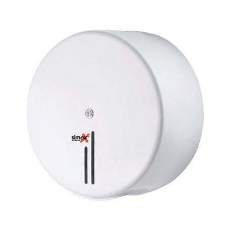 Toiletpapierdispenser Simex Mini Jumbo Staal Wit Horecavoordeel.com