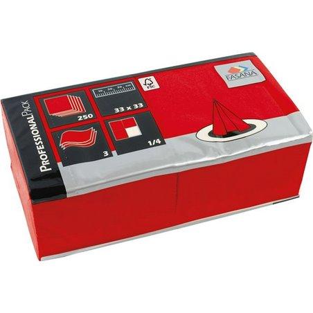 Servetten Rood 2 Laags 1/4 Vouw Fasana 330 x 330mm Horecavoordeel.com