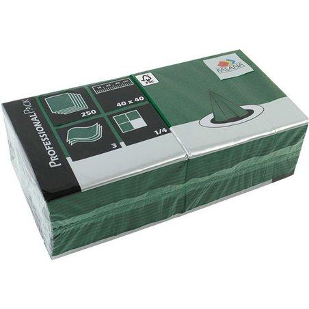 Servetten Groen 3 Laags 1/4 Vouw 400 x 400mm Horecavoordeel.com